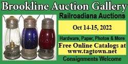 Brookline Railroadiana Auction http://www.tagtown.net